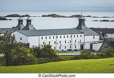 Laphroaig distillery buildings. Islay island. - Laphroaig...