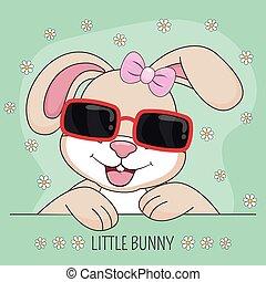 lapin, beau, rose, lunettes soleil, girl, vert, arrière-plan., mignon, isolé