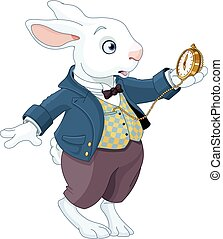 lapin blanc, tient, montre