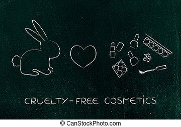 lapin, côté, maquillage, à, coeur, icône, cruelty-free,...