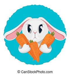 lapin, chevelure, carotte, deux, long, vecteur, illustration, tenue, pattes