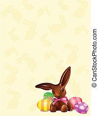 lapin, chocolat, fond, paques