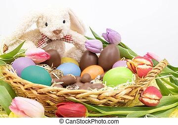 lapin, coloré, peint, tulipes, oeufs, chocolat, paques