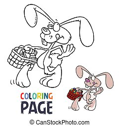 lapin, coloration, dessin animé, page