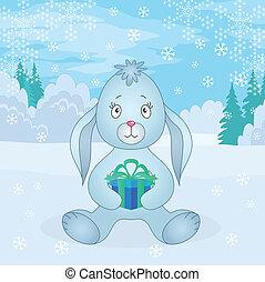 lapin, girl, à, boîte, dans, hiver, forêt