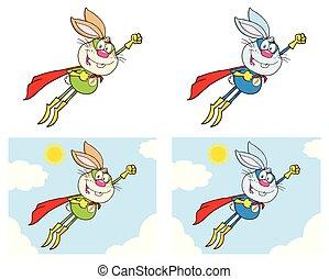 lapin, héros super, dessin animé, mascotte, caractère, ensemble, 3., collection
