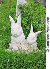 lapin, jardin, statue