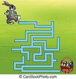 lapin, jeu, manière, labyrinthe, oeuf, trouver
