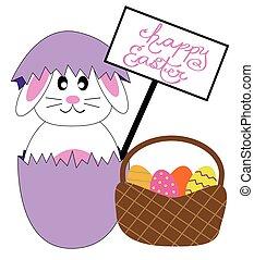 lapin pâques, heureux