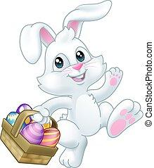 lapin, panier, oeufs, lapin, paques, dessin animé