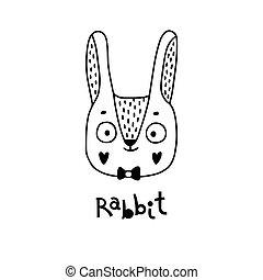 lapin, simple, vecteur, figure, illustration, style., lapin, mignon, dessin animé