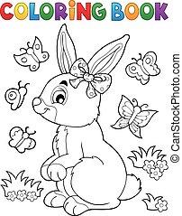 lapin, topic, 2, livre coloration