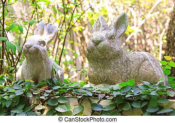 lapins, jardin, statue