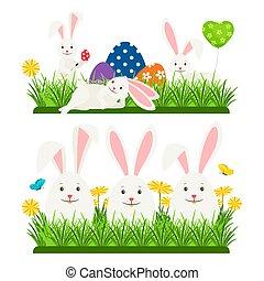 lapins, oeufs, caractère, vecteur, conception, paques, dessin animé