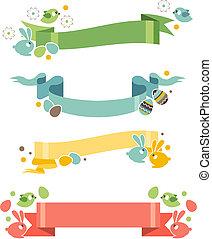 lapins, oeufs, quatre, floral, bannières, paques