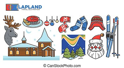 Lapland travel destination promotional poster with Christmas...