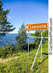 Laponia Lappland sign, in Sweden Scandinavia North Europe