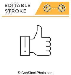 lapozgat, editable, feláll, ütés, egyenes, ikon