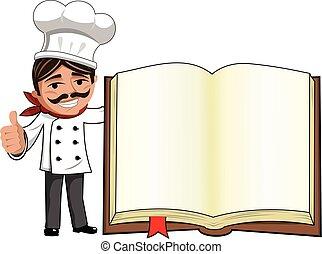 lapozgat, elszigetelt, feláll, séf, könyv, tiszta, szakács, gesztus