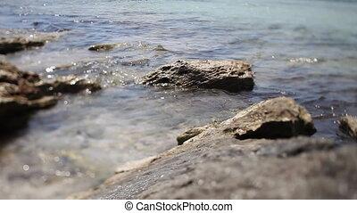 lapping of water crashing on rocks