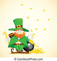 Laprachun with Pot of Gold Coin - easy to edit vector...