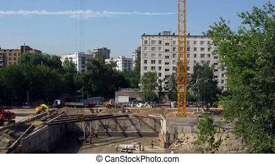 lapse., épület, building:, idő, előbb, kezdet, end.