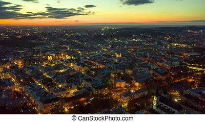 lapse., aérien, ville, hyperlapse, lviv, city., ukraine,...
