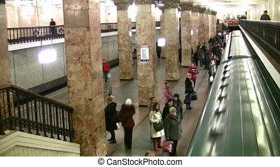 lapse., aucuns gens, filtered., métro, temps, station., faces.