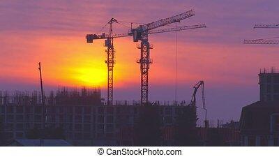 lapse., city., construction, complexe, temps, résidentiel
