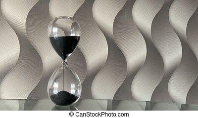 lapse., heure, horloge, mouvement, verre, sable, sables, hourglass., temps, par
