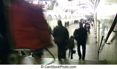 lapse., métro, gens, foule, temps, station.