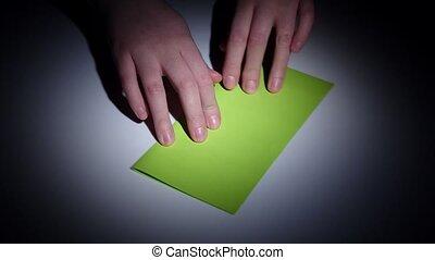 lapse., mon, -, closeup, temps, passe-temps, origami.