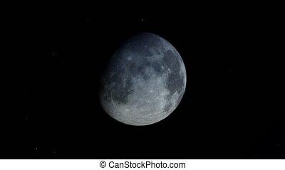 lapse., phases., temps, lunaire, lune