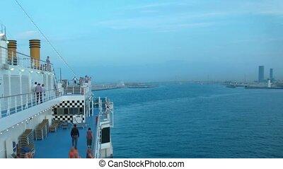 lapse., pont, gens., temps, bateau, flotter