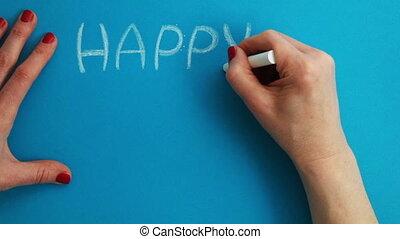 lapse., zeit, -, geschrieben, chalk., ostern, glücklich