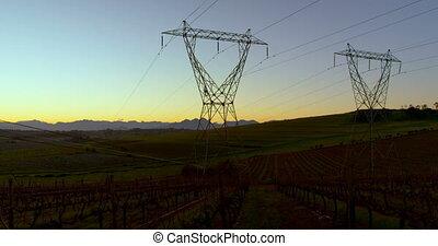 lapsed, campo, electricidade, 4k, pylon, tempo, alvorada