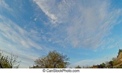 lapso tempo, céu nublado