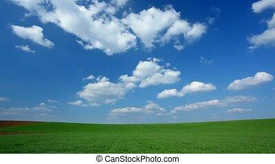 lapso tempo, nuvens, em, campo