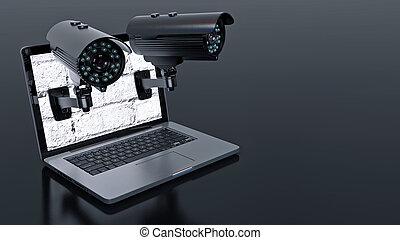 lapto, câmera, surveillance video