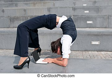 laptob, flessibile, donna, -, affari