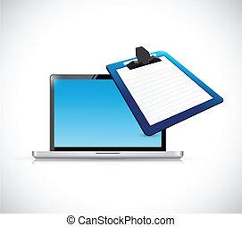 laptop, área de transferência, desenho, ilustração