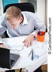 laptop, építészmérnök, dolgozó