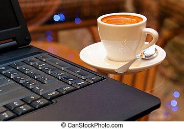laptop, és, kávécserje