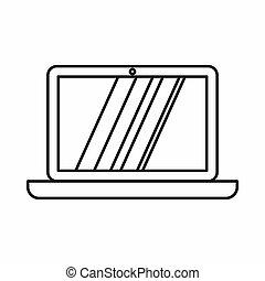 laptop, ícone, esboço, estilo