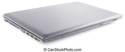 laptop, över, vit, stängd