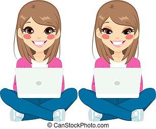 laptop, ül lány, tizenéves