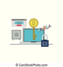laptop , ακίνδυνος , bitcoin, ηλεκτρονικός υπολογιστής , closeup , κλειδί , login
