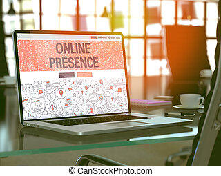 laptop , γενική ιδέα , online , screen., παρουσία
