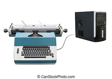 laptop , γραφομηχανή