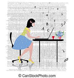 laptop , γυναίκα αρμοδιότητα